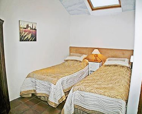 A well furnished with two twin beds.