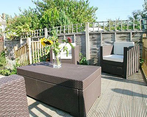 An outdoor lounge area.