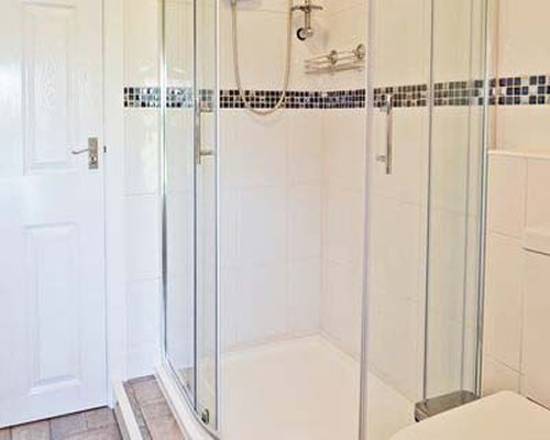 A bathroom with a stand up shower.