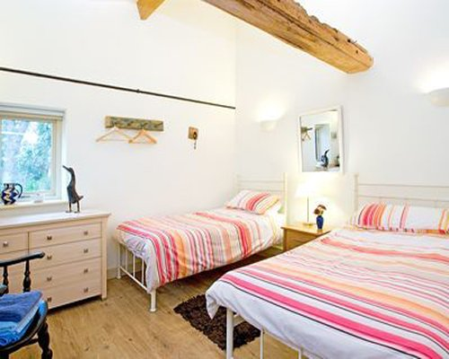 A well furnished bedroom with two twin beds and lamp.