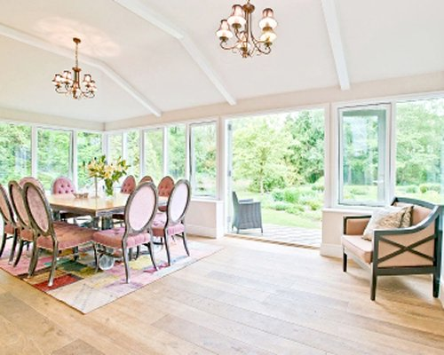 A well furnished dining room with patio.