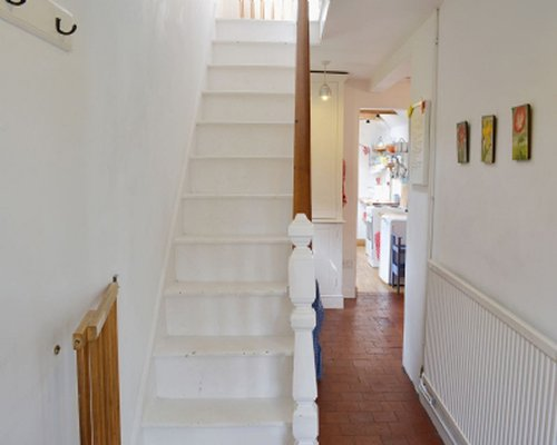 A staircase in a living area.