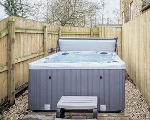 A private outdoor hot tub.