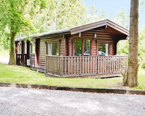 An exterior view of Scandinavian Lodge resort.