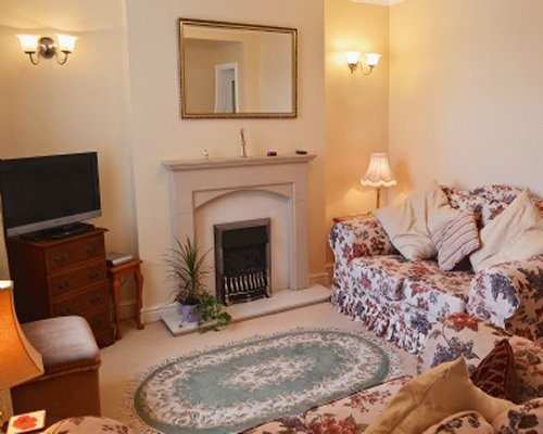 A well furnished living room with a television double pull out sofa and a fireplace.