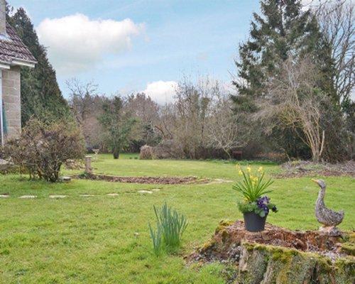 A private landscaped yard.