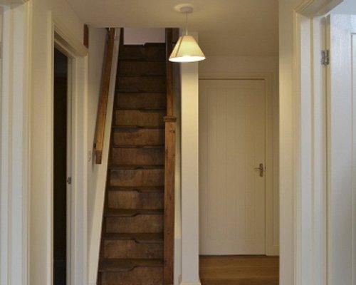 An indoor stairway.