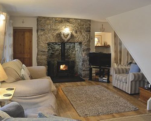 A well furnished living room with television and a fire in the fireplace.