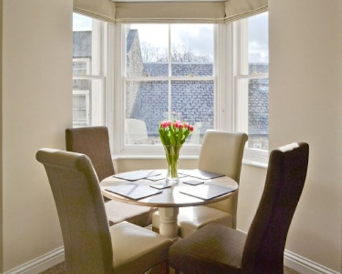 A well furnished dining room with outside view.