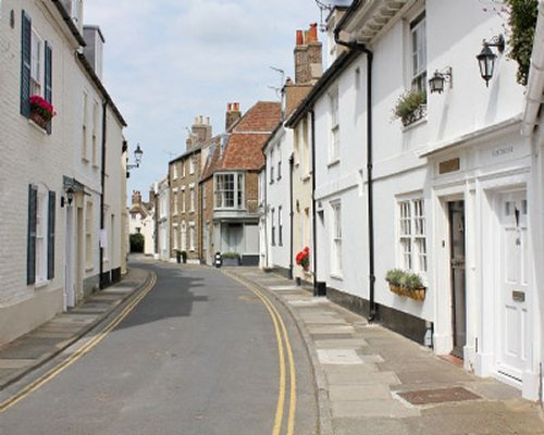 A view of narrow cottage street.