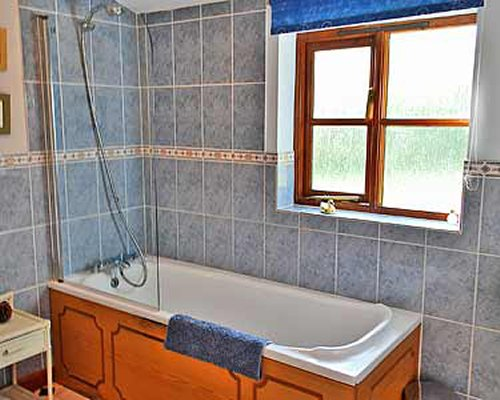 A shower and bathtub.