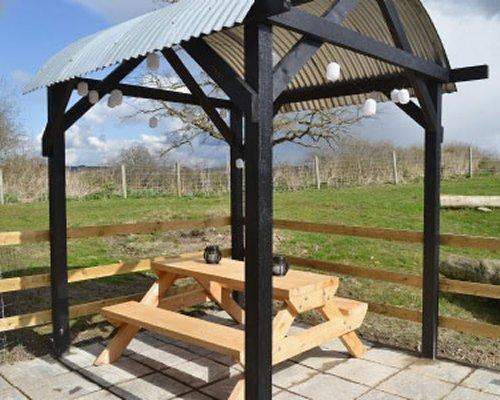 A scenic outdoor picnic area.