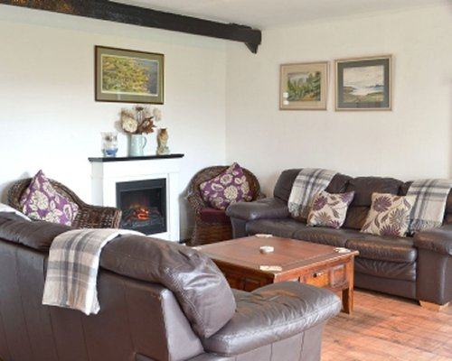 A well furnished living room with double pull out sofas and a fire in the fireplace.