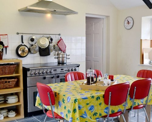 An open plan kitchen and dining area.