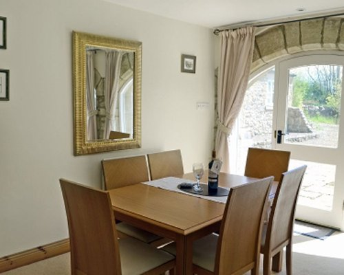 A well furnished dining area with an outside view.