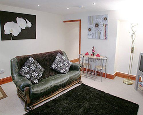 A well furnished living room with a pull out sofa.