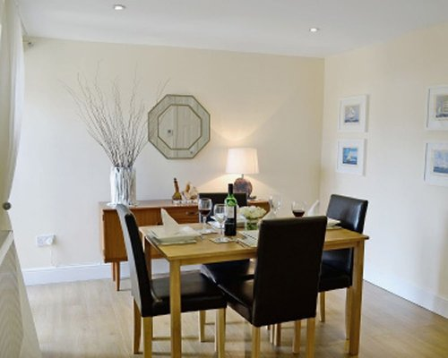 A well furnished dining area.