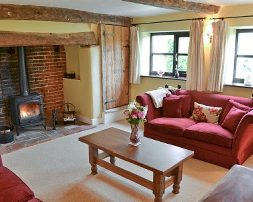 A well furnished living room with double pull out sofa fire in the fireplace and an outside view.