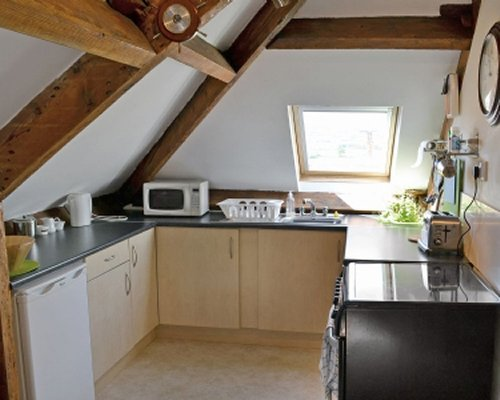 A well equipped attic kitchen.