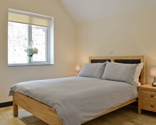 A well furnished bedroom with an outside view.