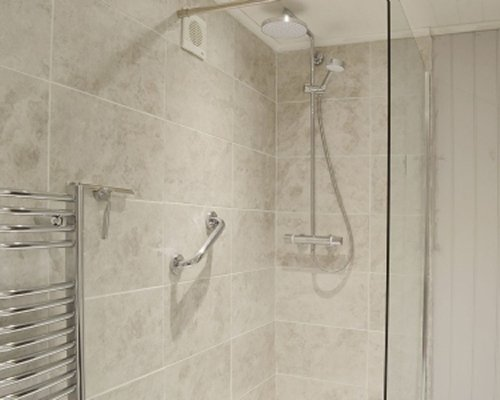 A shower stall.