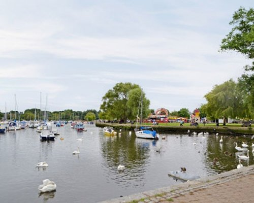 A scenic view of a marina.