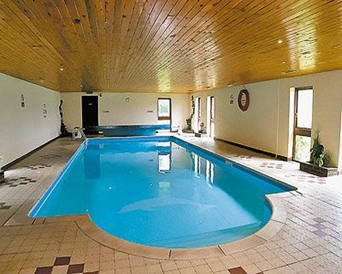 A view of an indoor swimming pool.