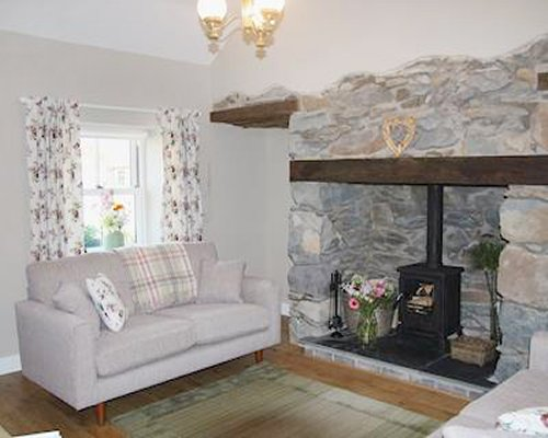A well furnished living room with a pull out sofa and fireplace.