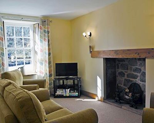 A well furnished living room with a pull out sofa television and fireplace.