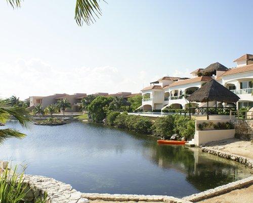 View of the lake alongside resort units.