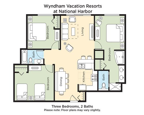 A floor plan of three bedrooms and 2 baths.