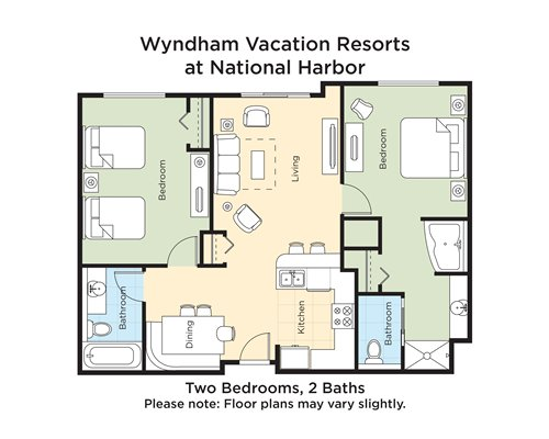 A floor plan of two bedrooms and 2 baths.