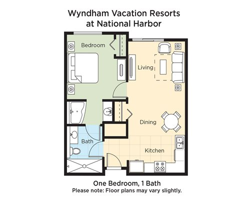 A floor plan of one bedroom and 1 bath.