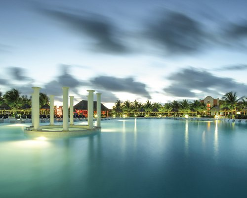 A large outdoor swimming pool alongside coconut trees.