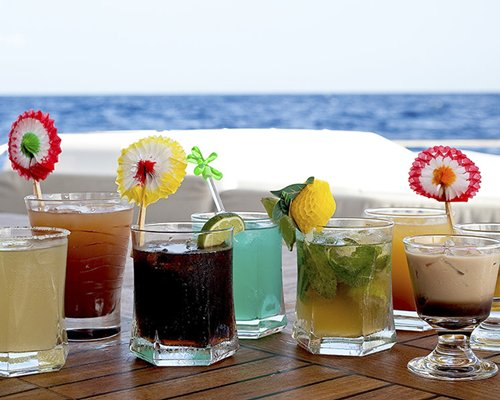 A view of various drinks on the table.