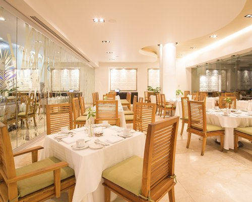 An indoor restaurant at Marival Residences Luxury Resort.