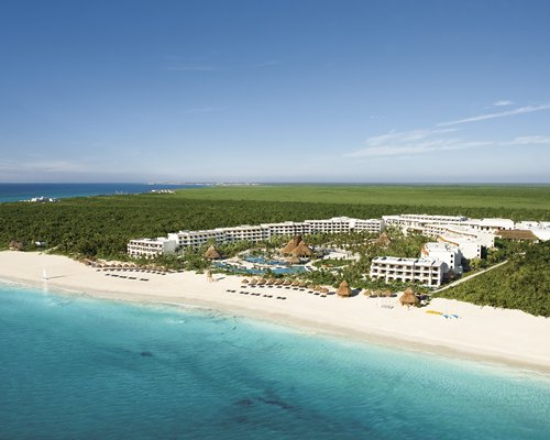 Bird's eye view of the resort alongside the beach.