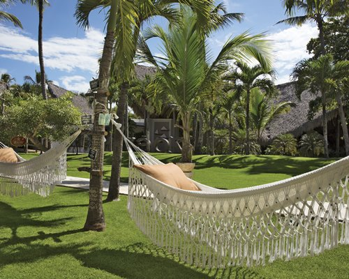 A hammock on the landscaped area.