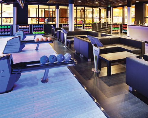 An indoor recreational area with a bowling.