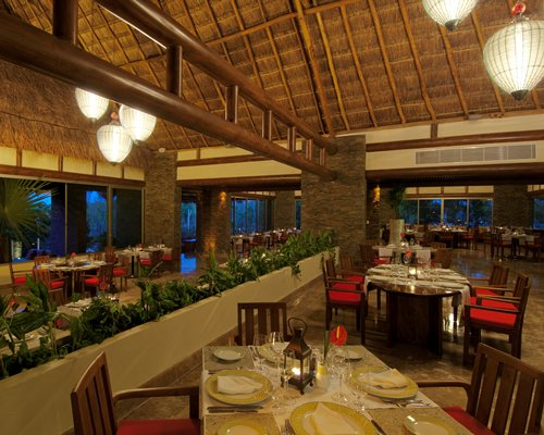 Indoor restaurant with outside view.
