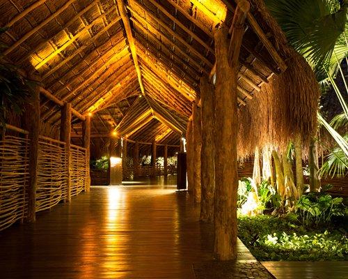 A corridor of the resort at night.