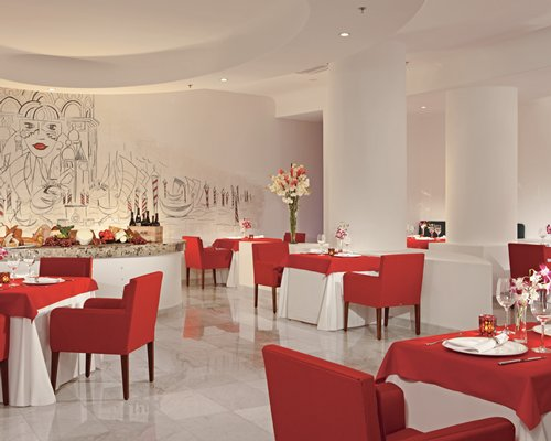 A well furnished indoor couple dining restaurant.