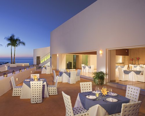 A fine dining restaurant with an outside view.