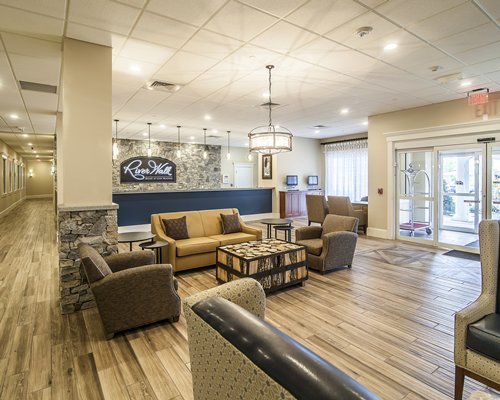 A well furnished reception area of Riverwalk at Loon Mountain.
