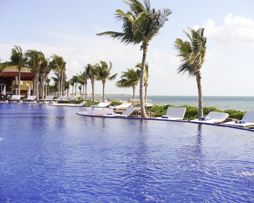Large outdoor swimming pool with chaise lounge chairs beach beds and palm trees alongside the ocean.