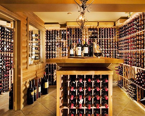 A view of wines in the wine rack.