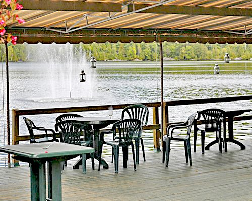 A patio alongside the waterfront.