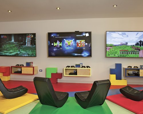 Indoor arcade game room.