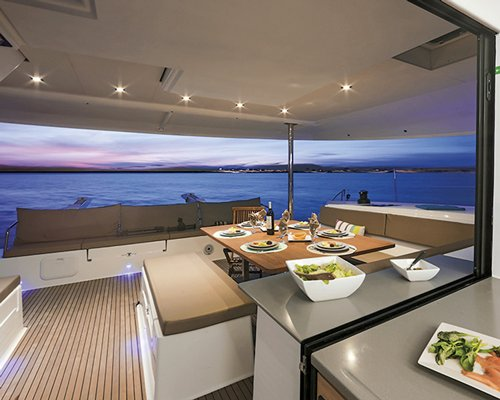 sailboat dining area