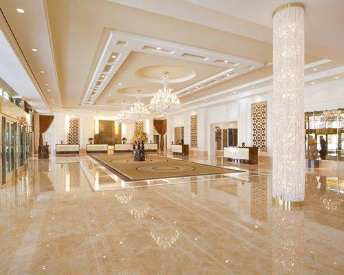 A well furnished indoor hallway.